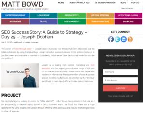 Joseph Doohan on Matt Bowd